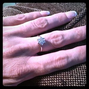 Blue topaz and white topaz sterling silver ring